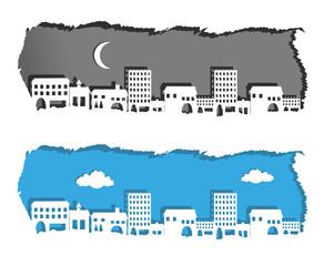 silhouette di metropoli su carta strappata