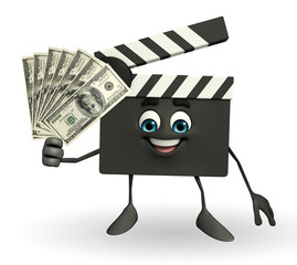 Clapper Board Character with dollars