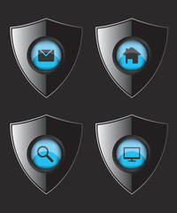 Shield web flat icons