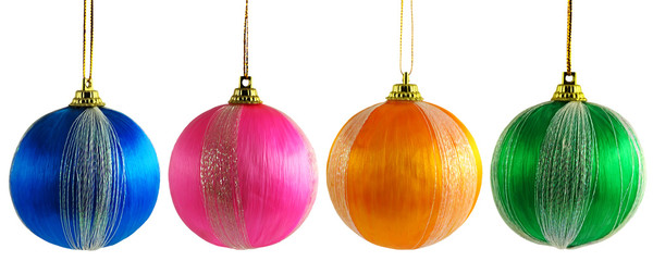 Four multicolored Christmas balls