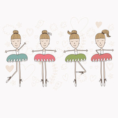 Ballerinas Cartoon Cute Set Pattern Background