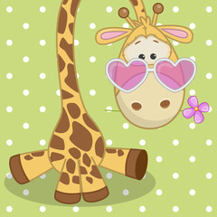 Giraffe with flower