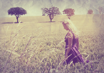 lady walking through field