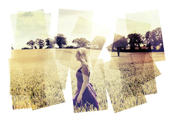 lady in field collage