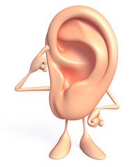 Ear character with thinking pose