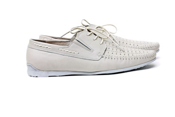 Summer men's shoes grey on white background