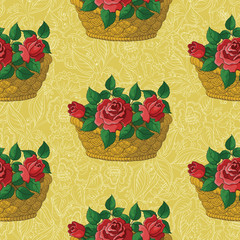 Seamless floral pattern, basket with roses
