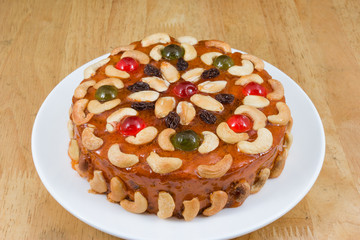 fruits cake with mix cashew nut and dried fruit