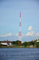 Telecommunication Mobile phone pole at Chao Phraya River
