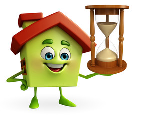 House character with sand clock