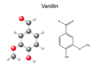 Chemical formula and model of vanillin molecule