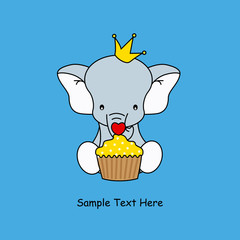 Greeting card. elephant with a muffin