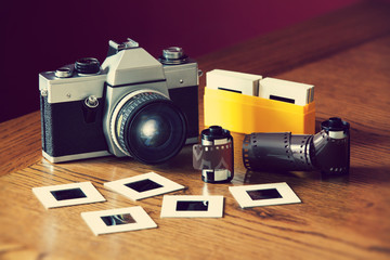 slr camera film and slides