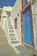 steps door in santorini island