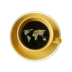 world map on cup of fresh espresso isolate on white