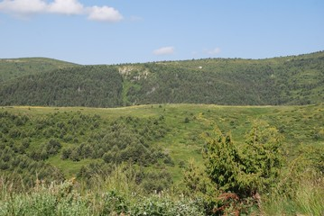 Green mountain slope