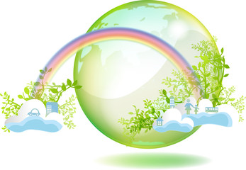 虹と雲と緑の地球