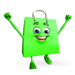 Shopping bag character with happy pose
