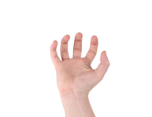 Male hand reaching for something.