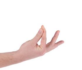 Male hand holding something.