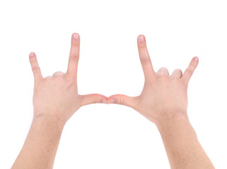 Man hand sign.