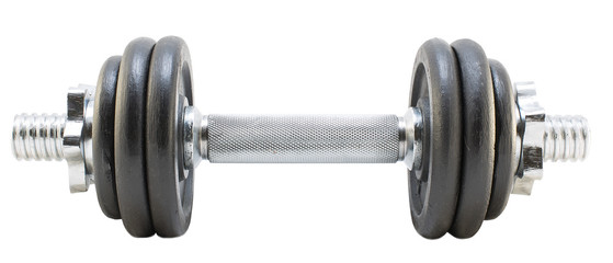 One dumbbell on isolated background