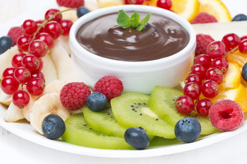chocolate sauce, fresh fruit and berries, selective focus