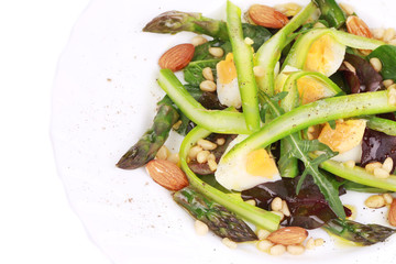Close up of salad with asparagus.