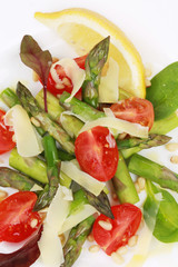 Close up of asparagus salad.