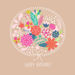 Floral illustration, happy birthday card