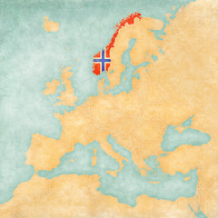 Map of Europe - Norway (Vintage Series)