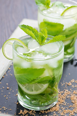 Fresh mojito cocktail with lime and mint, close-up
