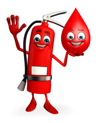 Fire Extinguisher character with blood drop