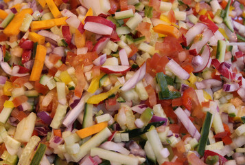Finely Chopped Colourful Fresh Salad and Vegetables.