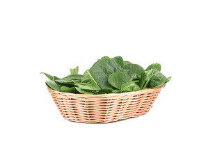 Spinach in the basket.