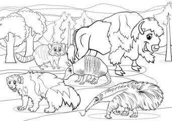 mammals animals cartoon coloring page