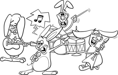 rabbits rock music band coloring page