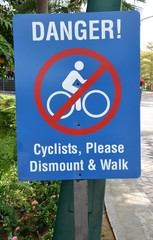 Danger cyclist sign