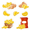 Potato chips set. Vector - 67584113