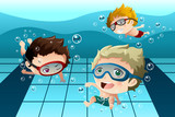 Fototapety Kids having fun in the swimming pool