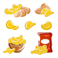 Potato chips set. Vector