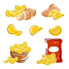 Potato chips set. Vector