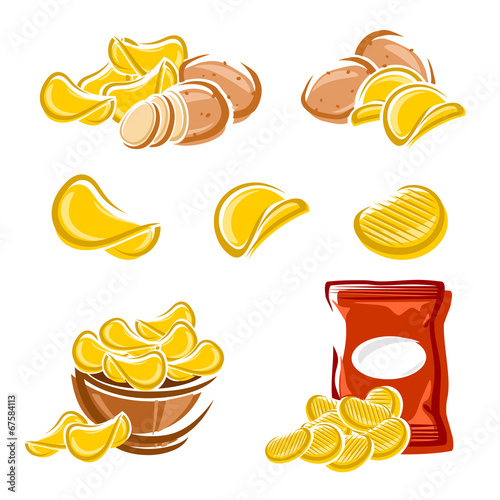Plexiglas Restaurant Potato chips set. Vector