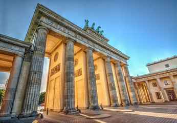 Brandenburg Gate (1788) at sunset, Berlin, Germany. Hdr image