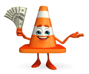 Construction Cone Character with dollars