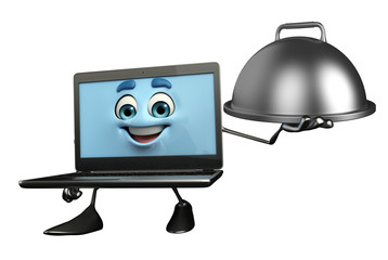 Laptop Character with dish pan