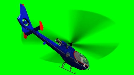 Eurocopter SA 341/342 Gazelle in fly - green screen