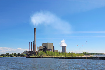 Power plant on Lake Michigan in Indiana