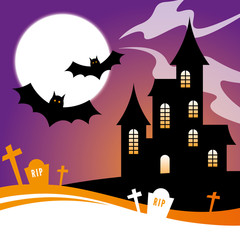 Halloween Design with Haunted House