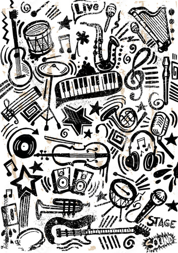 Tapeta Music Doodle Set